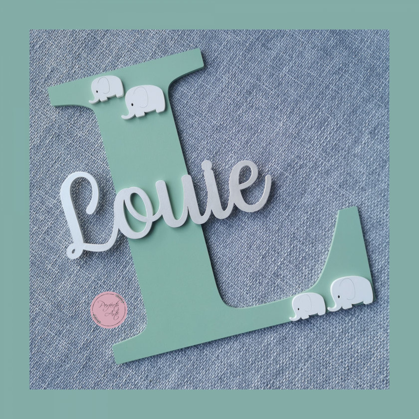 Personalised wooden wall initial with name, door sign, wooden name, wooden wall letter for kid's bedroom/nursery/playroom decor 3