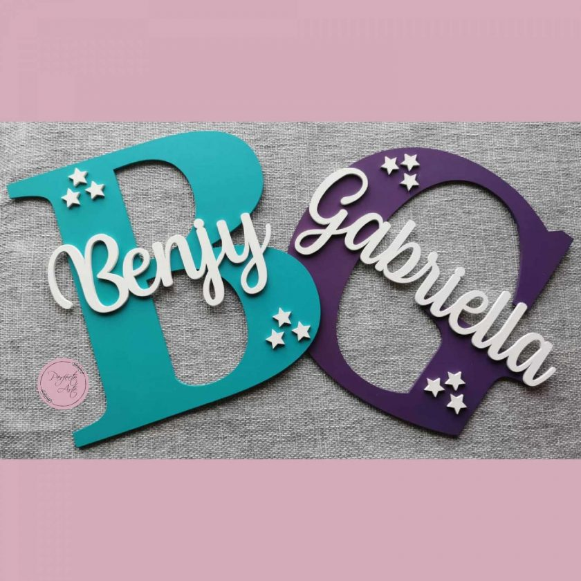 Personalised wooden wall initial with name, door sign, wooden name, wooden wall letter for kid's bedroom/nursery/playroom decor 5
