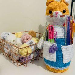 Doris the Crochet cat caddy(includes tools)
