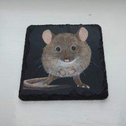 Hand Painted Slate Coaster - Mouse