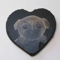 Hand Painted Slate Coaster - Pug