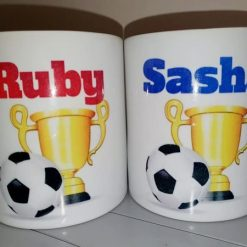 Personalised Football Themed Ceramic Money box available in Red or Blue