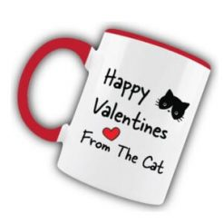 Happy Valentines From The Cat Pink Mug