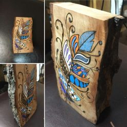 Free Standing Wooden Abstract Feather Pyrography Art