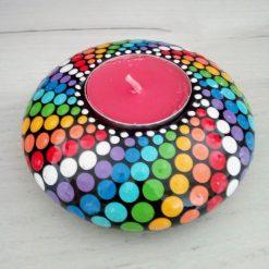 Round Rainbow tea light holder