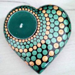 Hand cast stone tea light holder heart shape