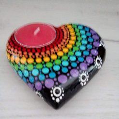 Rainbow heart stone tea light holder