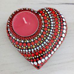Hand cast stone tea light holder