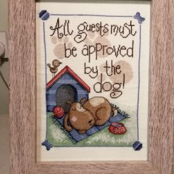 Cross Stitch Picture, Guests Approved, Framed Picture