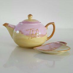GOLDEN DREAM PORCELAIN TEAPOT and TEA BAG HOLDER Hand painted | Dishwasher Safe |