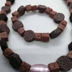 Bead Necklace And Bracelet Set, Pink Pumice Stone