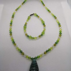 Bead Necklace And Bracelet Set, Green Beads And Green Pendant