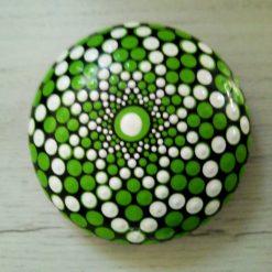Green and white mandala stone
