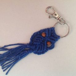 Bag charm or keychain macrame owl mint and pink , brushed tail , hand made