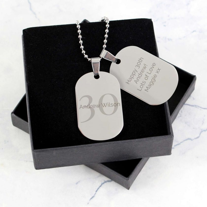 Personalised Big Age Stainless Steel Double Dog Tag Necklace 1