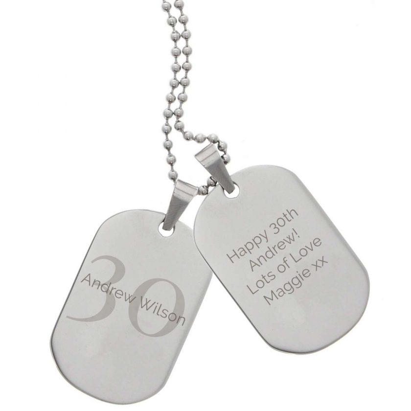 Personalised Big Age Stainless Steel Double Dog Tag Necklace 5