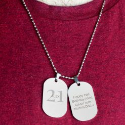 Personalised Big Age Stainless Steel Double Dog Tag Necklace 8