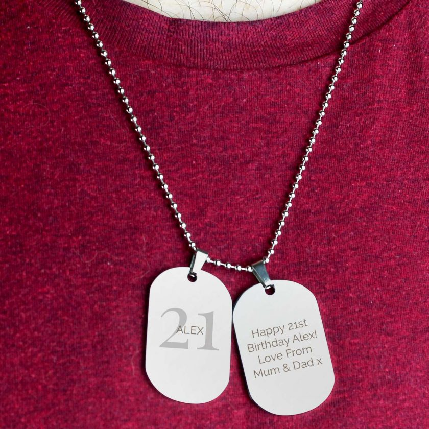 Personalised Big Age Stainless Steel Double Dog Tag Necklace 4