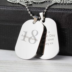Personalised Big Age Stainless Steel Double Dog Tag Necklace 7