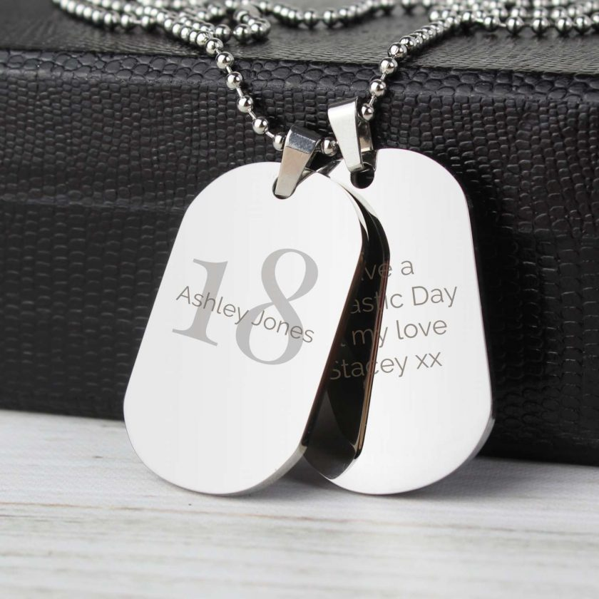Personalised Big Age Stainless Steel Double Dog Tag Necklace 3