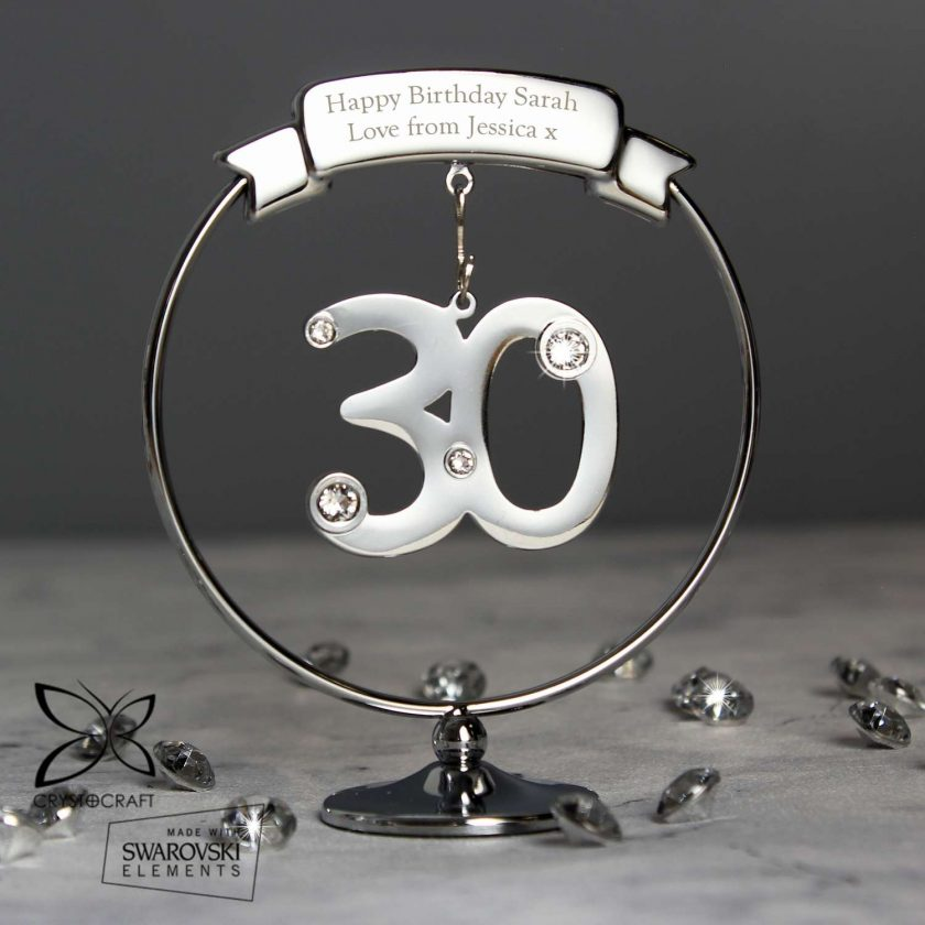 Personalised Crystocraft 30th Celebration Ornament Swarovski 1