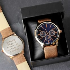 Personalised Mens Rose Gold Tone Watch with Brown Strap and Presentation Box