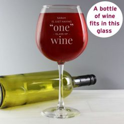 Personalised 'One Glass' Bottle of Wine Glass