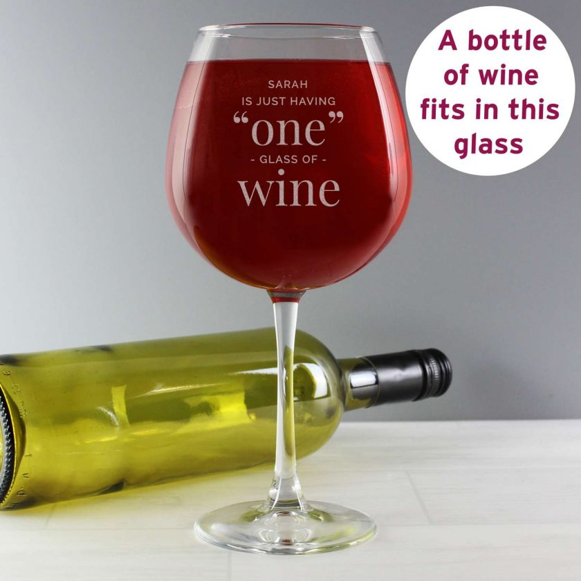 Personalised 'One Glass' Bottle of Wine Glass 1