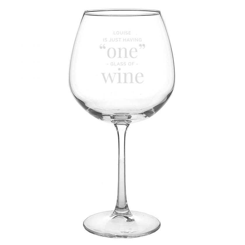 Personalised 'One Glass' Bottle of Wine Glass 5