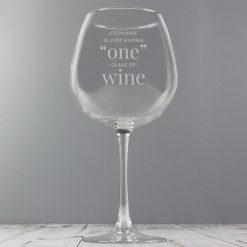 Personalised 'One Glass' Bottle of Wine Glass 8