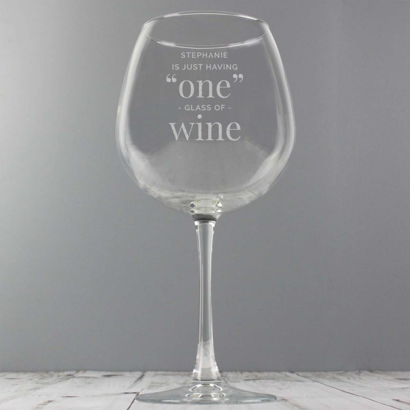 Personalised 'One Glass' Bottle of Wine Glass 4