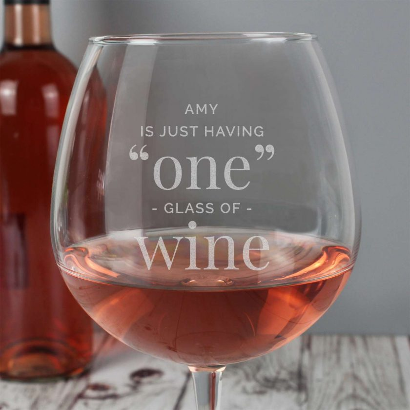 Personalised 'One Glass' Bottle of Wine Glass 2
