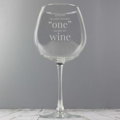 Personalised 'One Glass' Bottle of Wine Glass 7