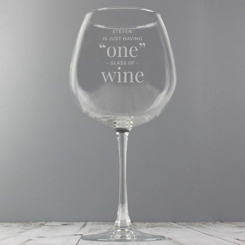 Personalised 'One Glass' Bottle of Wine Glass 3