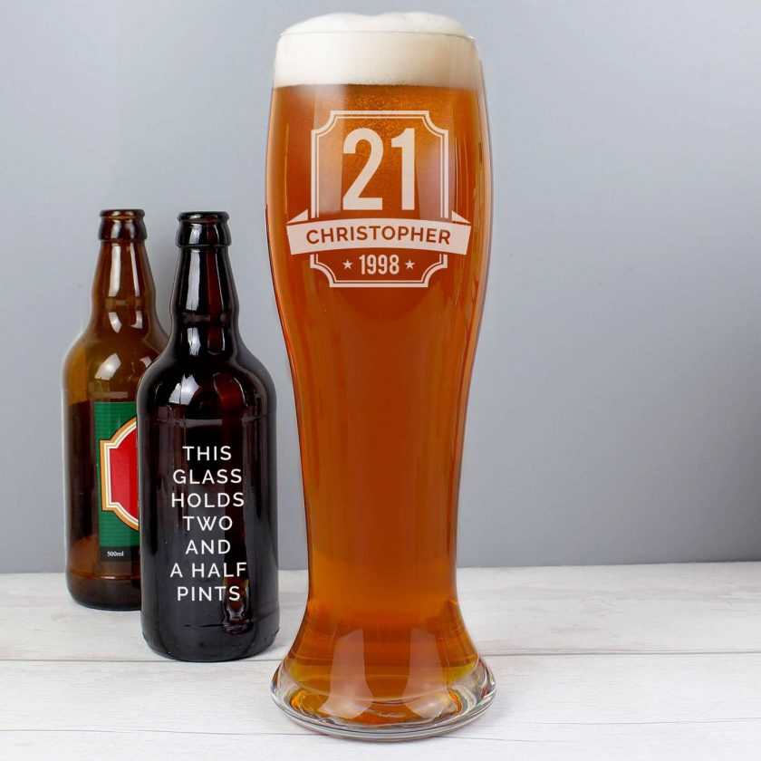 Personalised Big Age Giant Two And A Half Pint Beer Glass 1