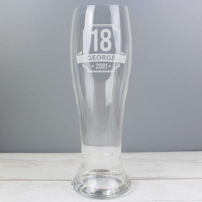 Personalised Big Age Giant Two And A Half Pint Beer Glass 5
