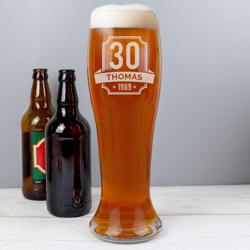 Personalised Big Age Giant Two And A Half Pint Beer Glass 4
