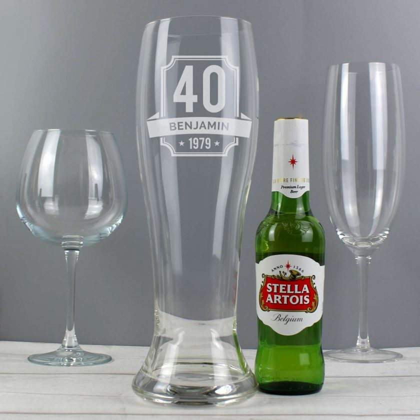 Personalised Big Age Giant Two And A Half Pint Beer Glass 3