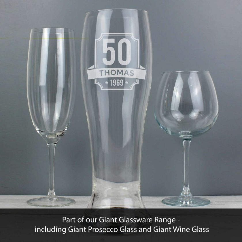 Personalised Big Age Giant Two And A Half Pint Beer Glass 2