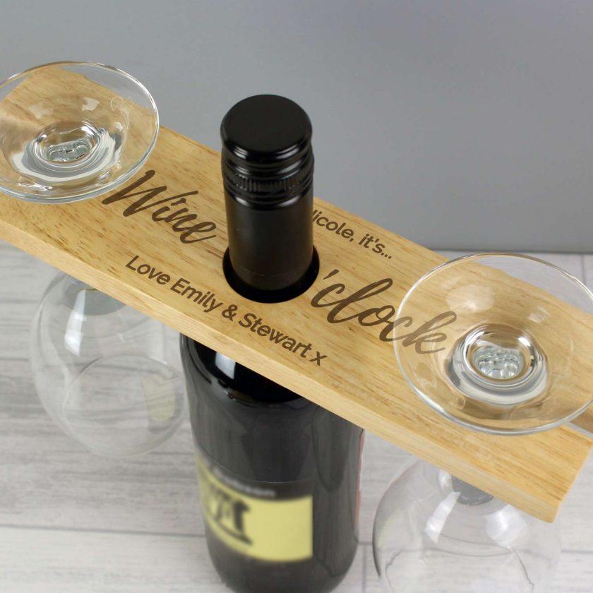 Personalised 'Wine O'clock' Wine Glass & Bottle Butler 1