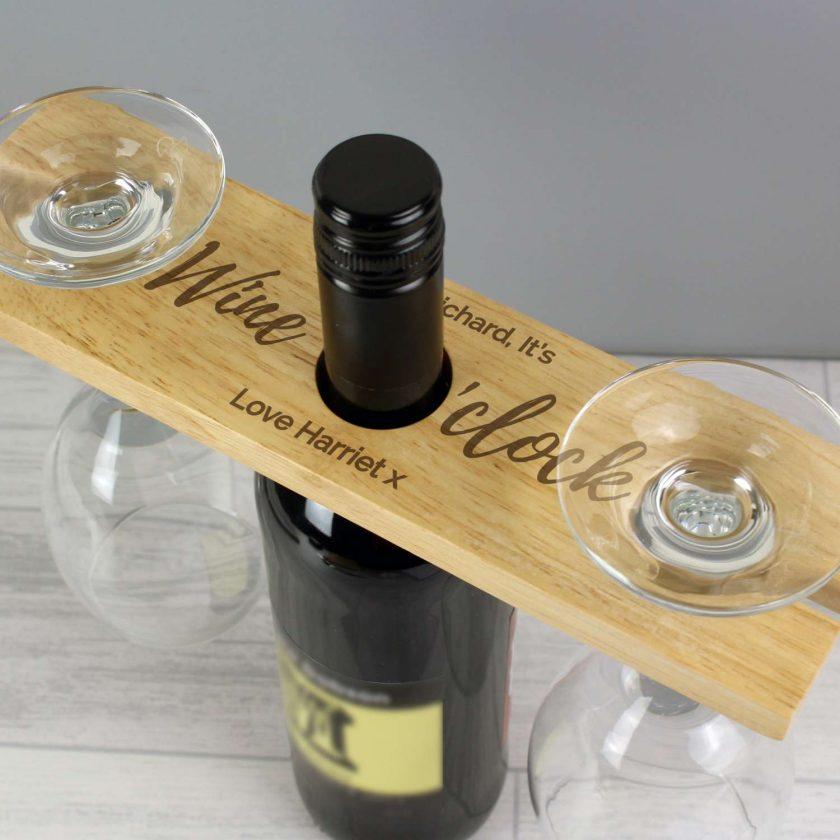 Personalised 'Wine O'clock' Wine Glass & Bottle Butler 4