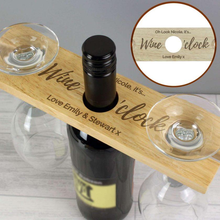 Personalised 'Wine O'clock' Wine Glass & Bottle Butler 3