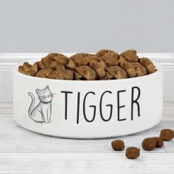 Personalised Scribble Cat 14cm Medium Pet Bowl