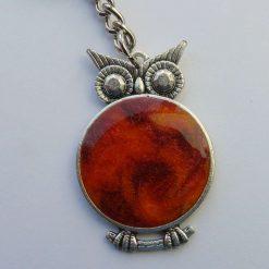 Owl Keychain, Keyring, Bag Charm - Black and White