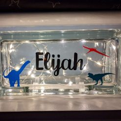 Personalised Dinosaur Light Glass Block
