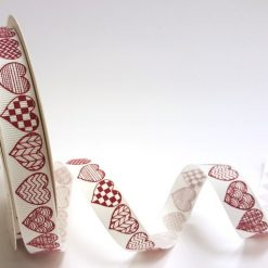 Bertie's Bows - Ribbon - Red Patterned Hearts