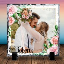 Wedding gift - anniversary - Personalised Photo Print - Natural Rock Slate - square 14cm x 14cm - Custom Image with stands - Photo Gift
