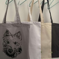 Personalised organic cotton tote bag with image of your own pet with charity donation 9