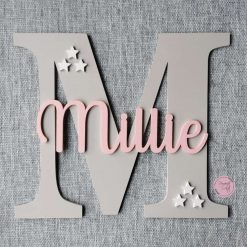 Personalised wooden wall initial with name, door sign, wooden name, wooden wall letter for kid's bedroom/nursery/playroom decor 13