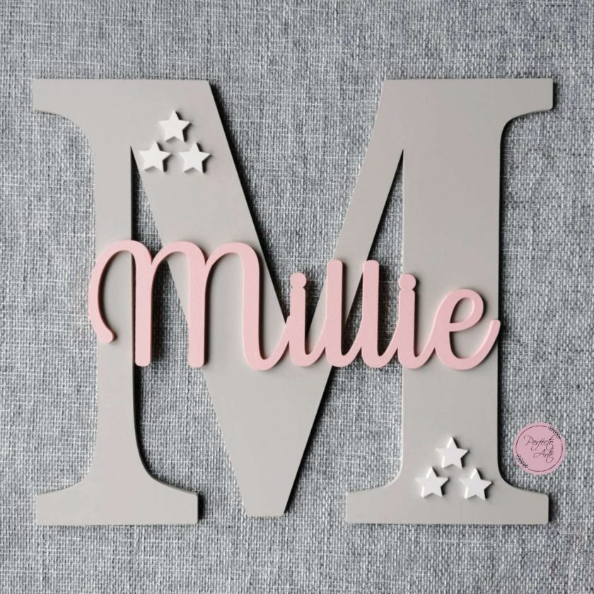 Personalised wooden wall initial with name, door sign, wooden name, wooden wall letter for kid's bedroom/nursery/playroom decor 2